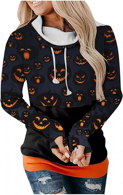 Halloween Hoodies for Women Drawstring Patchwork Pumpkin Graphic Sweatshirt Long Sleeve Oversized Pullover Hooded Tops