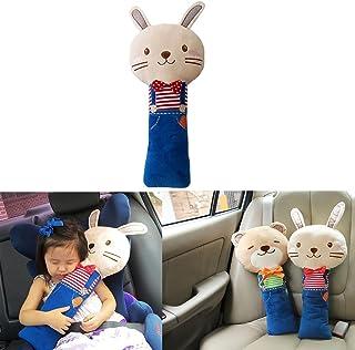 Sunsangシートベルト枕 、カーシートベルトカバー、キッズ 子供 ぬいぐるみおもちゃシートベルトストラップカバー、自動調節可能、子ともの頭、肩、胸を保護 (rabbit)