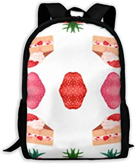 Posia Cute Pink Strawberry Shortcake Fabric (4465) Travel Bookbag School Backpack,Classic Lightweight Water-Resistant Backpack for Men Women College Schoolbag.