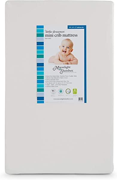 Moonlight Slumber Mini Little Dreamer Crib Mattress Dual Sleep Surface Water Resistant And Hypoallergenic Mini Mattress With Extra Firm Infant And Plush Toddler Sides 38x24x5 In