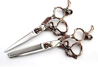 Professional Barber 6 Inch Hairdresser Professional Haircut Flat Scissor + Tooth Sccissor Tools Set Scissors (Color : Red)