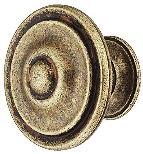 Design Möbelgriff Antik braun durchgerieben - Used-Look Möbelknopf Vintage Schrankknopf rund für Schubladen - H10328   Kommoden-Knopf Ø 30 mm   1 Stück - Messing Möbel-Knauf mit Schrauben