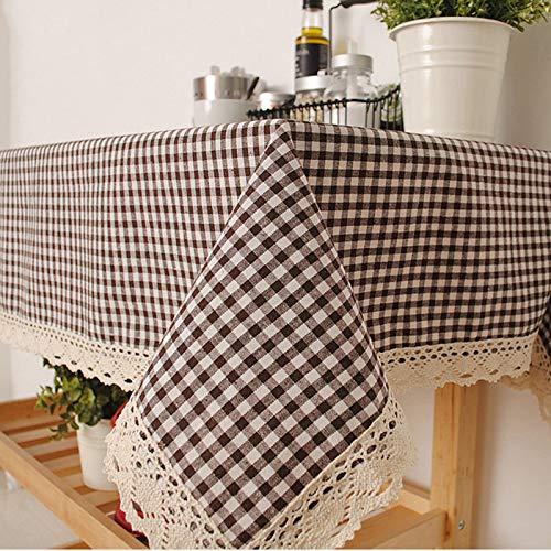 ZYT Waschbar, schmutzabweisend, pflegeleicht, hochwertig,Literarische verdickte Karierte Tischdecke/Gartentischdecke Kaffeetischdecke 140 * 160cm
