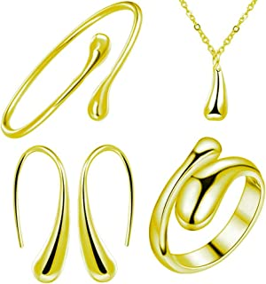 XMNDS 925 Sterling Silver Necklace Earring Ring Bangle Set for 4 Pcs (Gold)