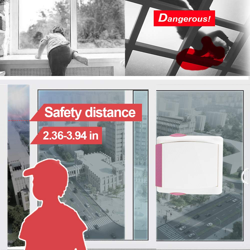 Kelamayi Sliding Door Lock for Child Safety 4 Pack Childproof Safety Lock Upgraded for Cabinet Closet Cupboard Bathroom Kitchen Doors Windows,3M Adhesive No Drilling