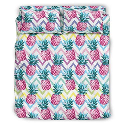 Juego de cama de 4 piezas con diseño de piña de colores, con cremallera, incluye 1 funda nórdica y 1 funda de almohada de 228 x 264 cm, color blanco