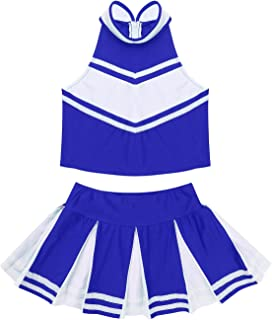 Big Girls Classic Cheerleading Team Uniform High Neck Crop Top with Pleated Boxer Skirts Rooter Stage Suit