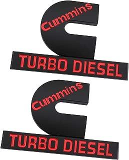2 Pcs Cummins Turbo Diesel Emblems, Small Size 3D Decal Badges Replacement for Dodge Ram 2500 3500 Nameplate Fender Emblem Mopar (Black red)