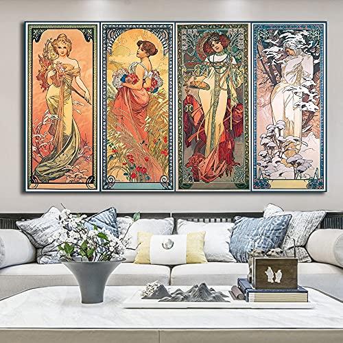 fdgdfgd Alphonse Mucha (Alphonse Mucha) óleo Vintage sobre Lienzo, Carteles e Impresiones, Mural del salón del psicólogo