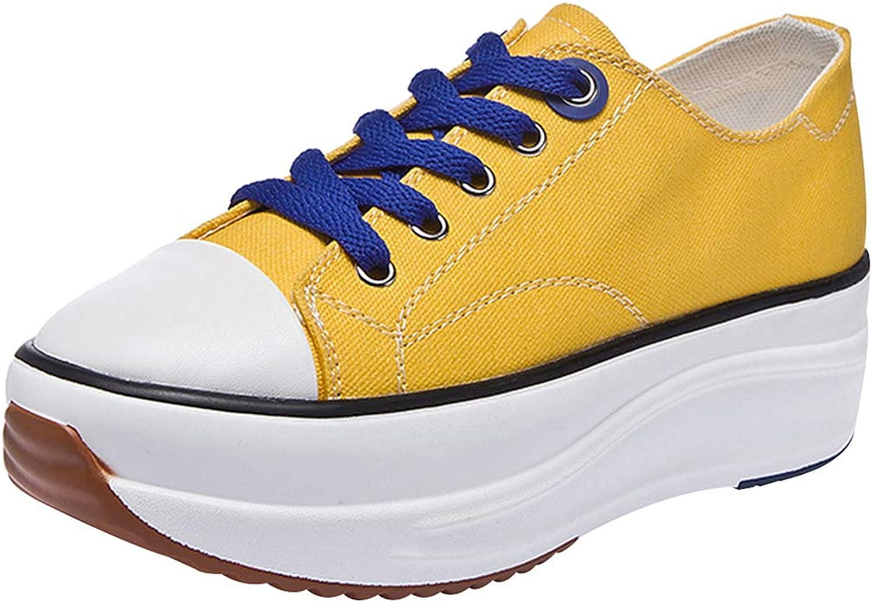 Rismart Women's Wedges Platform Comfortable Tennis Walking shoes Canvas Fashion Sneakers