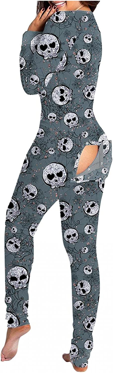 Pajamas for Women,Women's Casual Button Down Halloween Printed Long Sleeve Buttoned Flap Adults Jumpsuit Sleepwear Sets