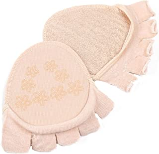 CHUANGLI Cotton Half Insoles Pads Cushion Metatarsal Sore Forefoot Support Toe Separating Socks Skin Colour