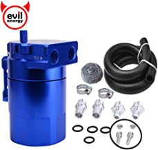 """EVIL ENERGY Baffled Universal Oil Catch Can Reservoir Tank Kit with 3/8"""" NBR Fuel Line and Steel Wool Aluminum Blue 300ml"""