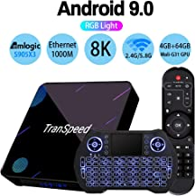 Android TV Box 9.0,Amlogic S905X3 USB 3.0 Ultra HD 4K 8K HDR 4GB RAM 64GB ROM 2.4G 5.8G Dual Band WiFi with BT 4.1 WiFi 100M Ethernet with Backlit Mini Keyboard Streaming Media Player Set Top TV Box