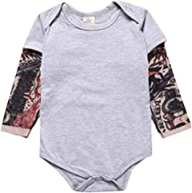 Goodplayer Toddler Baby Boy Girl Bodysuit Tattoo Sleeve One-Piece Romper Jumpsuit Halloween Outfit Costume Gift 0-24M