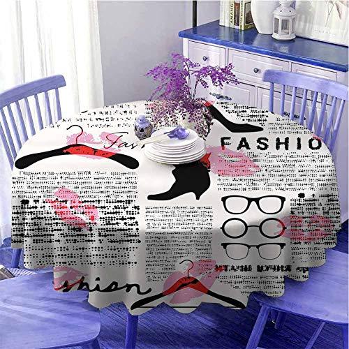 Mantel redondo con diseño de periódico antiguo adornado con elementos de moda besos pintalabios, gafas, zapatos, perchas, celebración, festival, diámetro de 67 pulgadas, color escarlata, rosa y negro