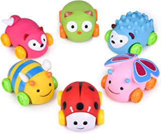Car Toys for Kids, 6 PCs Push & Go Toddler Animal Toy Cars, Soft Die-Cast Vehicle Birthday Gifts, Stocking Stuffers, Baby Party Favors