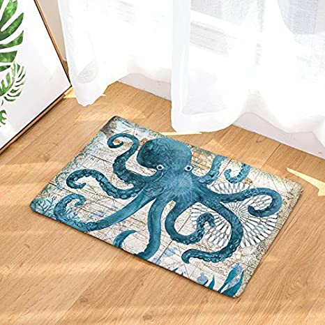 Coastal Non Slip Doormat Home Office Floor Mat Rug Machine Washable Customize Octopus Print Indoor Kitchen Bathroom Entrance Door Mats Rubber Home Kitchen