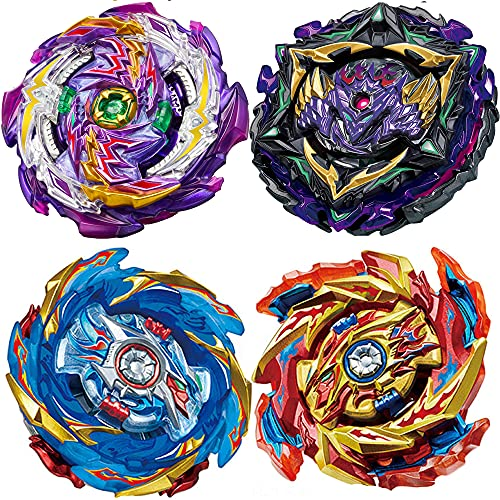 HUXICUI 4 Pieces Bey Battle Gyro Burst Metal Fusion Attack Set,Birthday Party Best Toys Gifts for Boys Kids Children Age 8+ High Performance Battling Top Burst Battle Toys Set