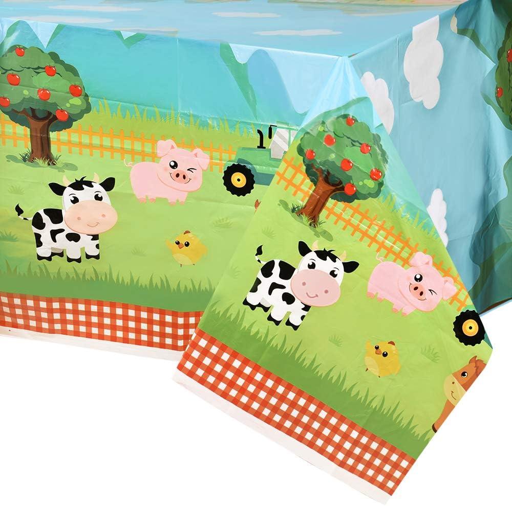 WERNNSAI Manteles de Granja - 2PCS 137 x 274 cm Manteles de Plástico Desechable Suministros de Fiesta de Temáticas de Granja para Baby Shower Cumpleaños de Niños o Niñas Decoraciones de Fiesta