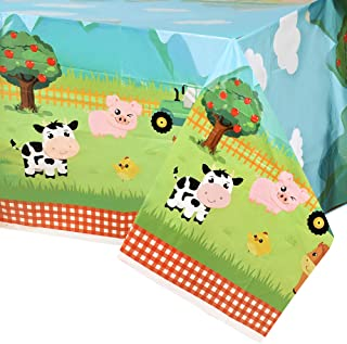 "WERNNSAI Farm Animal Party Tablecloth - 54"" x 108"" Disposable Plastic Table Cover Farm Theme Party Supplies for Picnics Ba..."
