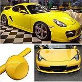 Hoho - Pellicola in vinile per carrozzeria auto, senza bolle, color giallo lucido, 152,4x 30,5cm