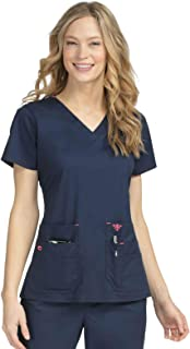 Med Couture Signature Women's V-Neck Knit Panel Scrub Top