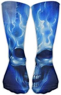 Blue Flames Skull Mid Calf Length Socks Basketball Sports Stockings Boot Crew Socks For Man Women