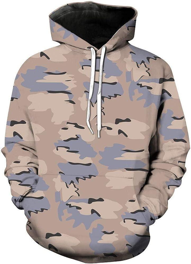 Men's New 3D Funny Hooded Jacket Long Sleeve Hooded Camouflage Printed Coat Hoodie Sweatshirt Blouse Tops