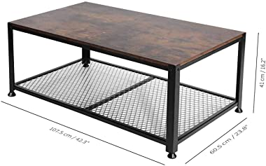 """YOUNIS Industrial Coffee Table with Storage Shelf, Rustic Brown Rectangle Side Table/Sofa Table for Living Room Home Decor Furniture, 42.3"""" x 23.8"""" x 16.2"""" No Tool Assembly"""