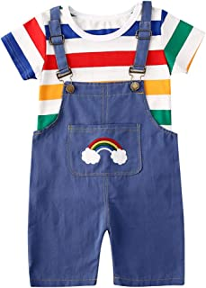 2PCS Infant Baby Boy Girl Clothes Short Sleeves Rainbow Striped T-Shirt Top+Solid Suspender Pants Overall