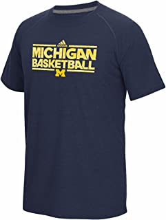 adidas Michigan Wolverines NCAA Men's Navy Blue Climalite Ultimate Performance Michigan Basketball T-Shirt (L)