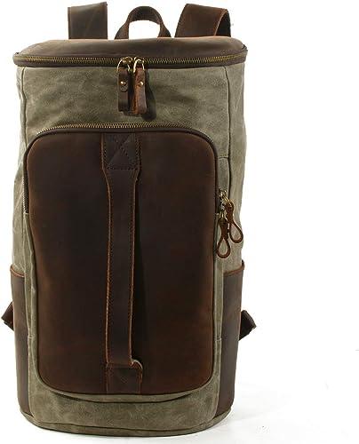 de plein air Hommes's sac à dos Sports voyage sac à dos Oil Wax Toile Double-épaule Sac de Voyage à Grande capacité Armée Verte