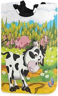 CaTaKu Panier à linge en forme de vache avec motif papillon, cochon de dessin animé - Grande boîte de rangement imperméabl...