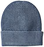 Goodthreads Men's Soft Cotton Washed Beanie, Blue, one Size