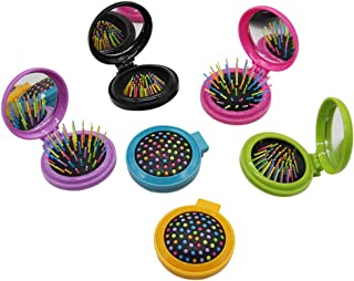 6 PCS Round Travel Hair Brush with Mirror Folding Pocket Hair Brush Mini Hair Comb with Makeup Mirror for Travel (Set of 6)