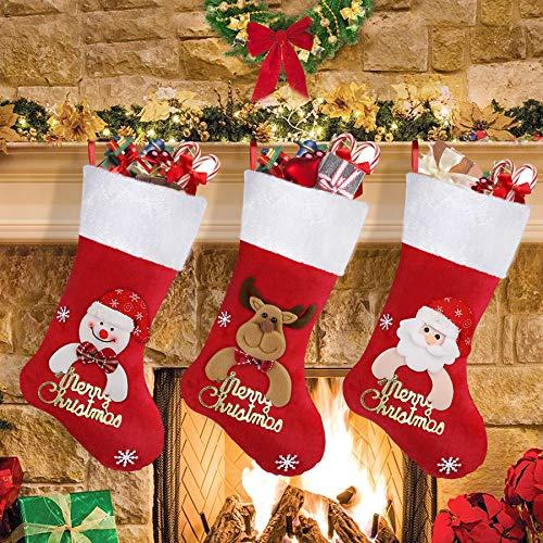 Shareconn Weihnachtsstrumpf Weihnachten Geschenktasche Zucker Beutel Weihnachtsbaum Deko, enthältet Weihnachtsmann、Davidshirsch、Schneemann, befüllen und aufhängen groß Ideale Weihnachtsdekoration