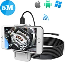 Upgrade Wireless Endoscope for iPhone, Teslong 1200P WiFi HD Semi-Rigid Waterproof Borescope Camera with 6 LED Lights Carrying with Bags, 16.5ft