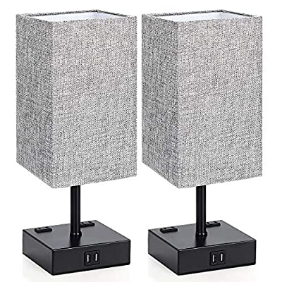 Touch Control Table Lamp, 3 Way Dimmable Bedside Desk Lamps with 2 USB Charging Ports 2 AC Outlets, Grey Fabric Shade Modern Nightlight for Bedroom Living Room, ST64 E26 LED Bulbs Included, Set of 2