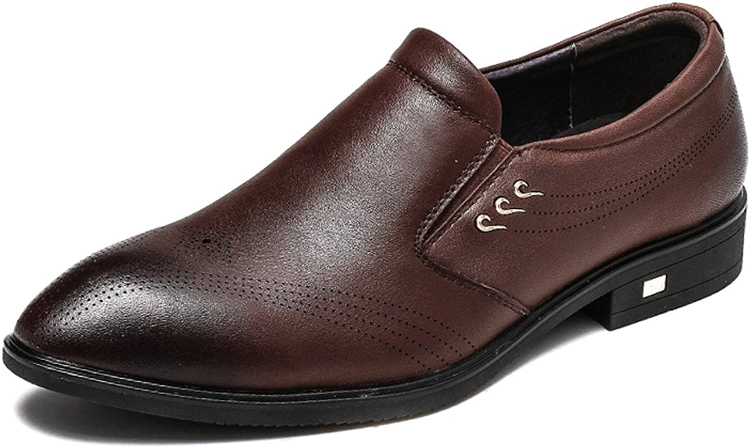 ABDVOOD Mens Tuxedo Formal Dress shoes Genuine Leather Breathable Pointed-Toe Slip On Oxford by