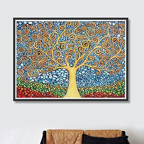 Árbol abstracto 5D kit de pintura de diamantes bricolaje bordado cuadrado lleno de diamantes de imitación artesanía de punto de cruz para la decoración de la pared del hogar (38 * 30 CM)