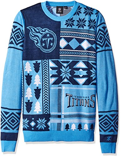 NFL TENNESSEE TITANS PATCHES Ugly Sweater, Large