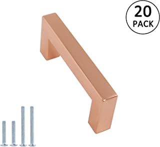 Kitchen Cabinet Pulls Rose Gold Finish 3 inch 76mm Hole Centers 20Pack Square Bar Pull Handle Furniture Hardware Shiny Copper Dresser Door Knobs