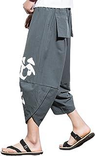 VINMORI (ヴィンモリ) メンズ サルエル パンツ ファッション 混綿麻 クロップド 漢字 ショートパンツ 夏 3色展開