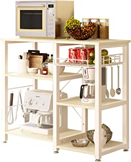 SogesHome 3-Tier Microwave Stand Cart with Storage and Drawer Kitchen Baker's Rack Workstation Shelf, White Oak SH-W5s-MO