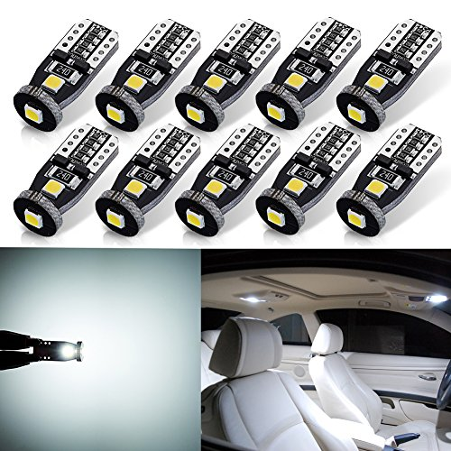 AUTOGINE 10pcs Super Bright Error Free 194 168 175 2825 W5W T10 912 LED Bulbs Xenon White 3030 Chipset for Car Interior Dome Map Door Courtesy Trunk License Plate Lights