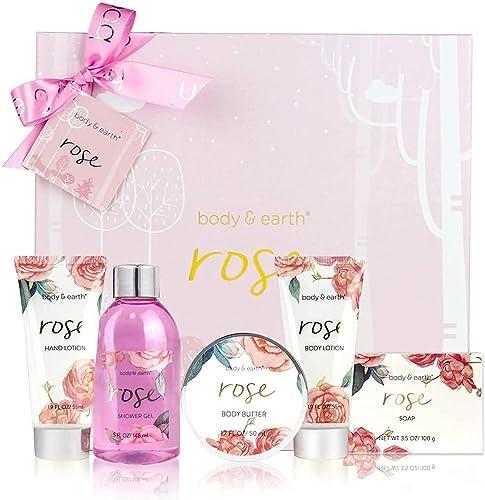 Coffret de Bain & Douche pour Femme, Body&Earth 6 Pièces Coffret Cadeau au Parfum de Rose, Parfait Cadeau pour l'Anni...