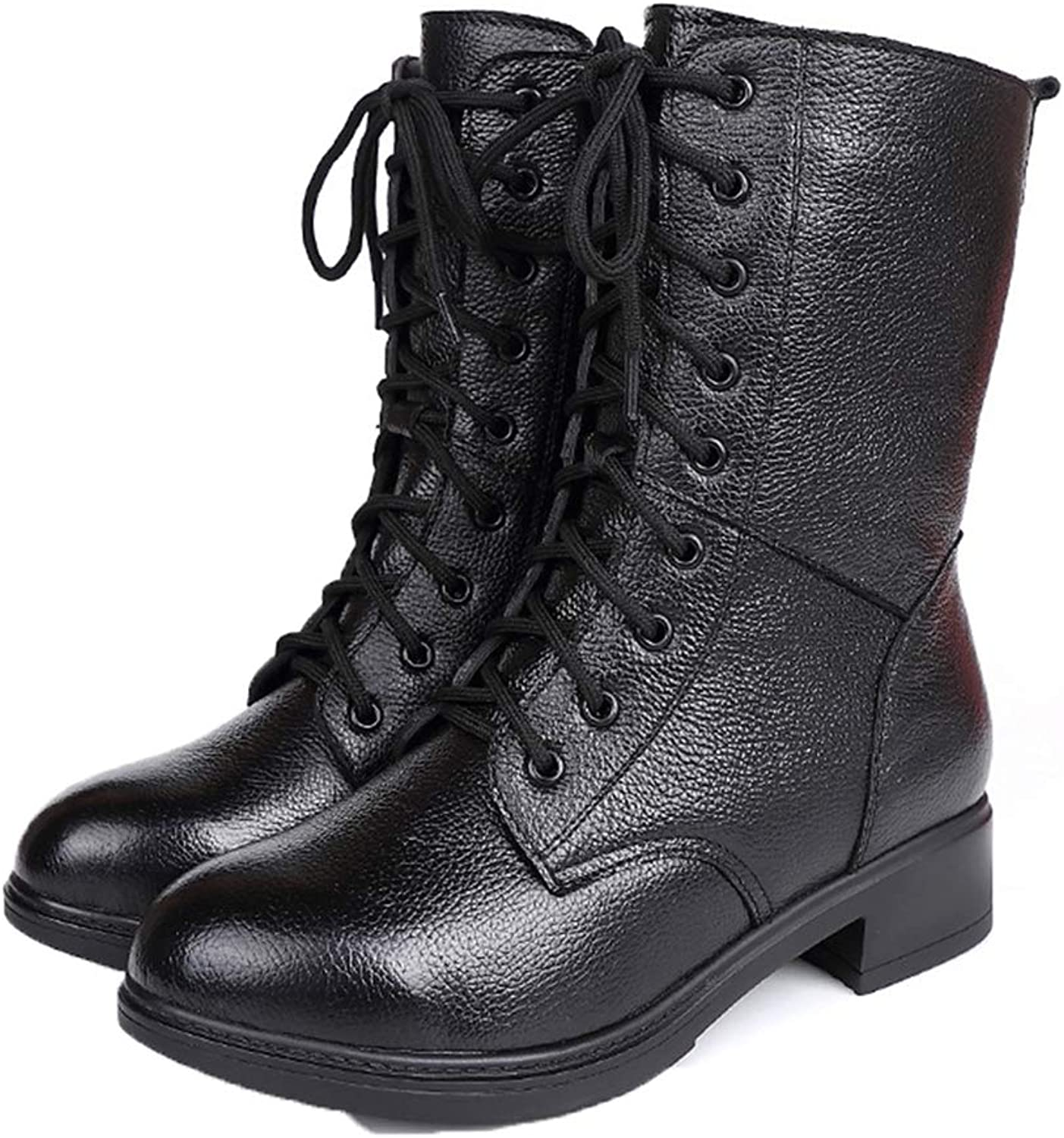 Jim Hugh Women Genuine Leather Lace Mid Calf Boots Round Toe Motorcycle Combat shoes Solid Black