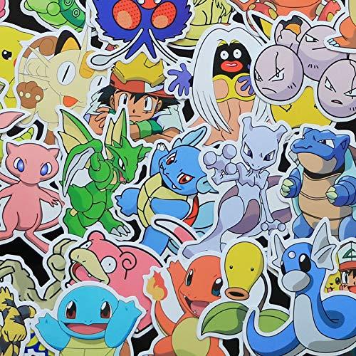 BLOUR 80 unids/Lote 160 Tipos de Pegatinas de Dibujos Animados de Amina pokemonal para decoración de Pared, Nevera, Bicicleta, Ordenador portátil, Pegatinas para Coche, Figura, Juguetes, Impermeable