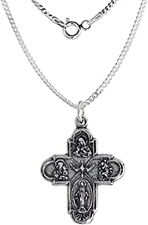 Sterling Silver Scapular 4 Way Cross Medal Necklace 1.8mm Chain